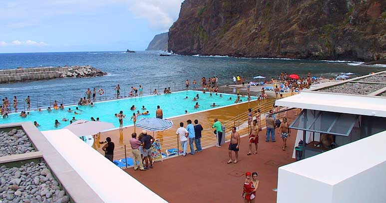 Ponta Delgada swimming pool on Madeira Island Portugal