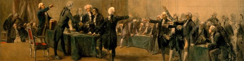 Ondertekening van de Amerikaanse onafhankelijkheidsverklaring met een glas Madeira