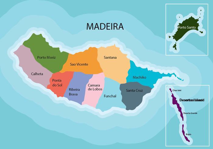 Map of Madeira Archipelago, Portugal