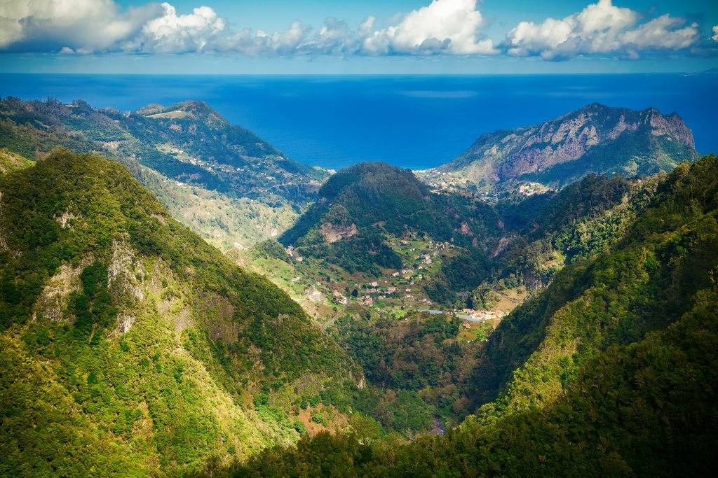 Balcoes, Madeira - view onto Penha d'Aguia and the Ocean Ribeiro Frio