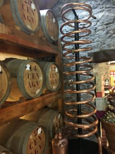 Rum barrels in the factory