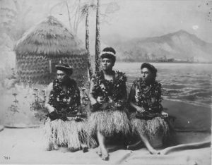 Native Hawaiian hula girls playing the ukulele popularize in the reign of King Kalakaua. Madeira Ukulele