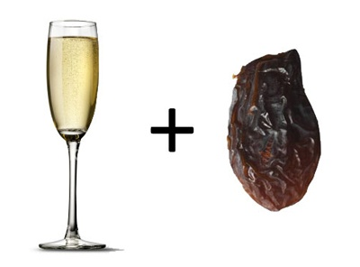Champagne and 12 Raisins Tradition New Year Tradition