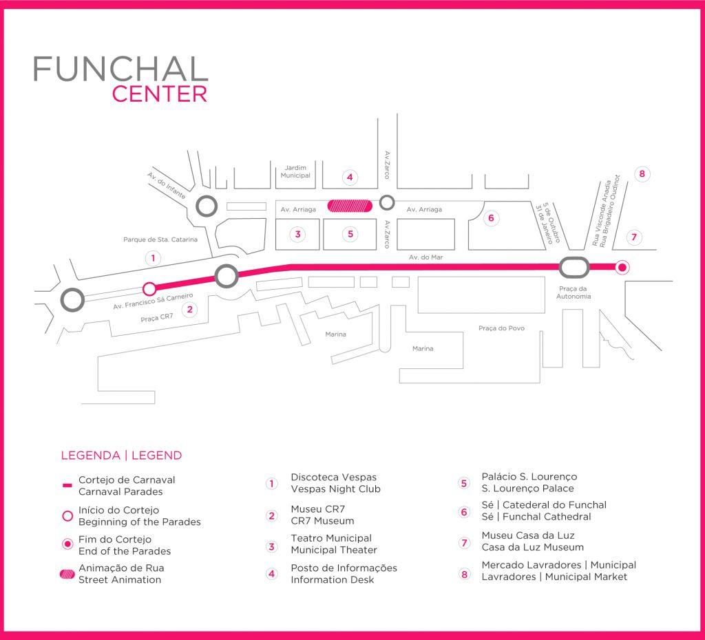Plan des rues du carnaval de Madère Funchal