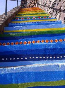 Painted Stairs Detail by Olga Drak Campanario Madeira