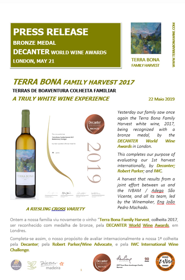 Terra Bona Family Harvest, 2017 – Un vin élaboré à Boaventura