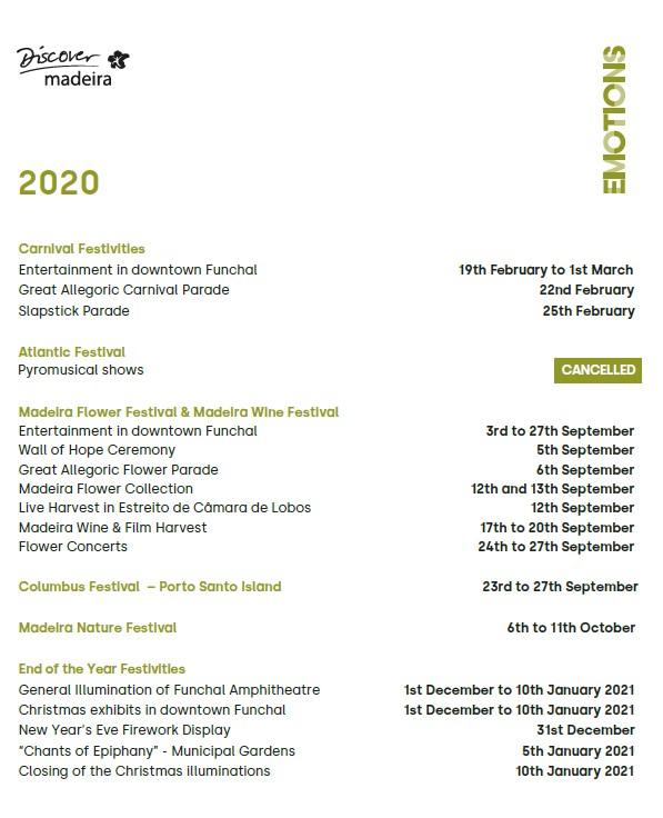Neuer touristischer Unterhaltungskalender für 2020 veröffentlicht - Madeira Island, Portugal