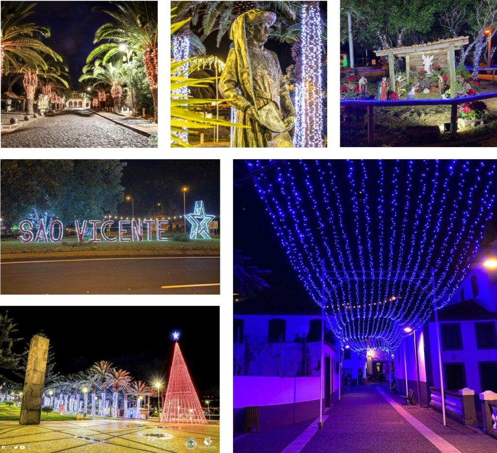 Festive lights on Madeira Island in Sao Vicente and on Porto Santo