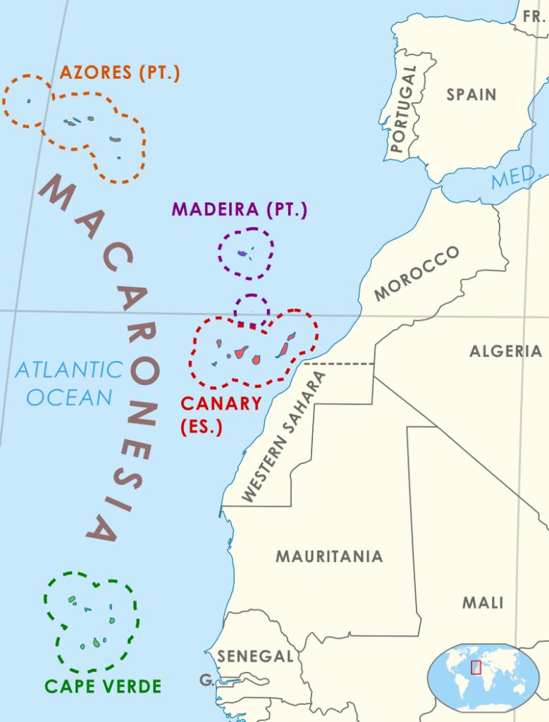 Macronesia Map - the four archipelagos of the Valconmac program