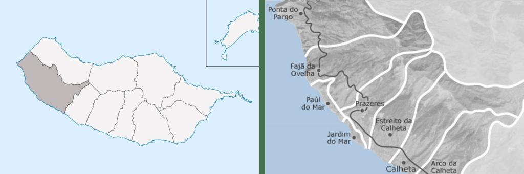 Municipality and parishes location map